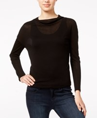 Armani Exchange Sheer Cowl Neck Top Solid Black