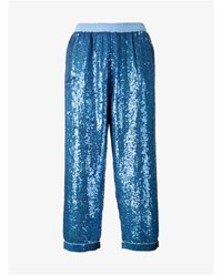 Ashish Sequin Embellished Cropped Trousers Blue Black Pink