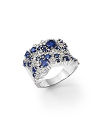Bloomingdale's Sapphire And Diamond Statement Ring In 14K White Gold Blue White