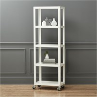 Cb2 Go Cart White Five Shelf Rolling Bookcase