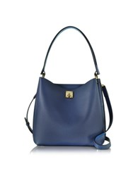Mcm Milla Blue Leather Medium Hobo Bag