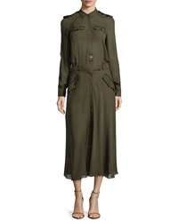 L.A.M.B. Silk Army Shirt Midi Dress Pine