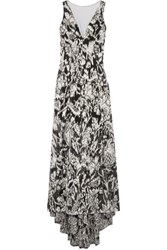 Lela Rose Asymmetric Fil Coupe Tulle Gown Silver
