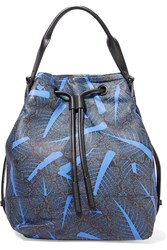 Opening Ceremony Chard Izzy Convertible Printed Leather Backpack Blue