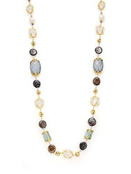 Azaara 22K Yellow Gold Pearl And Quartz Station Necklace Gold Multi
