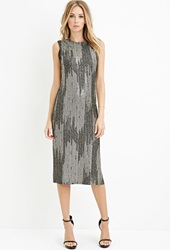 Forever 21 Contemporary Abstract Metallic Shift Dress Black Gold