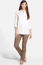 Lafayette 148 New York Primo Denim Curvy Fit Slim Leg Jean Brown