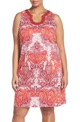 Plus Size Women's London Times 'Regal Ombre' Embellished Paisley Print Sleeveless Shift Dress