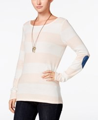Maison Jules Striped Elbow Patch Top Only At Macy's Pearl Blush Combo