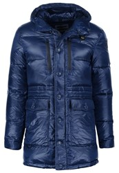 Blauer Down Coat Blu Baltico Blue