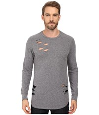 Rustic Dime Distressed Long Sleeve Tee Heather Grey Men's T Shirt Gray