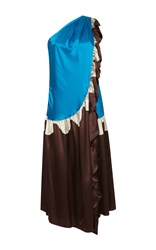 Rossella Jardini Waved One Shoulder Ruffled Dress Brown Blue White