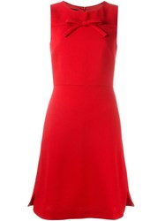 Boutique Moschino Chest Bow Fitted Dress Red