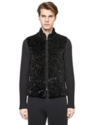 Emporio Armani Faux Astrakhan Fur And Wool Sweater Black