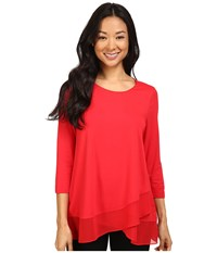 Vince Camuto 3 4 Sleeve Asymmetrical Chiffon Hem Top Fire Glow Women's Clothing Red