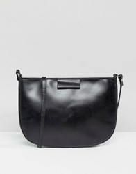 Asos Leather Clean Curved Edge Cross Body Bag Black