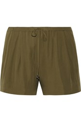 Haute Hippie Silk Shorts Green