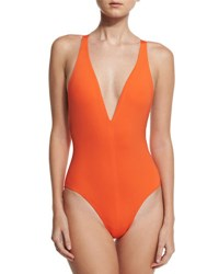 Proenza Schouler Solid Plunge Neck One Piece Swimsuit Orange