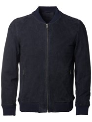 Selected Homme Dublin Suede Bomber Jacket Dark Navy
