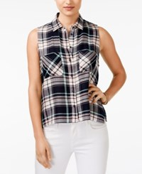 Polly And Esther Juniors' Plaid Sleeveless Button Front Shirt Navy Peach