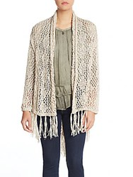 Saks Fifth Avenue Fringe Trimmed Crochet Top Ivory