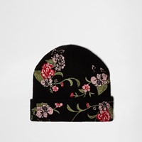 River Island Womens Black Floral Embroidered Beanie