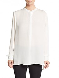Vince Two Tone Silk Blouse White Blue