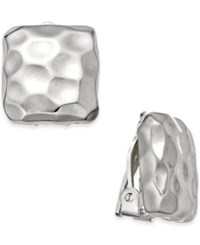 Charter Club Silver Tone Hammered Square Clip On Earrings Only At Macy's