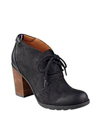 Tommy Hilfiger Duff Lace Up Suede And Leather Booties Black