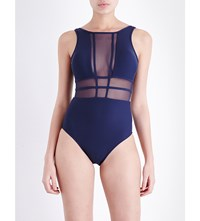 Jets By Jessika Allen Aspire Mesh Panel Swimsuit Ink