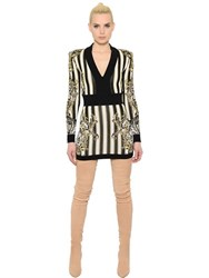 Balmain V Neck Stripe Jacquard Knit Mini Dress