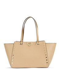 Karl Lagerfeld Manon Studded Leather Tote Nude