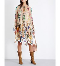 Chloe Abstract Print Loose Fit Silk Georgette Dress Beige And Multicolour