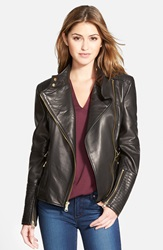 Vince Camuto Asymmetrical Leather Moto Jacket Online Only Black