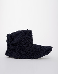 Totes Quilted Slouch Bootie Slippers Navy