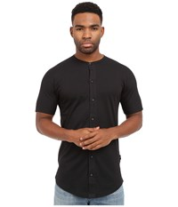 Publish Malachy Cotton Knit Seamless Short Sleeve Button Up Tee With Side Split Hem Black Men's T Shirt