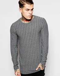 Asos Longline Long Sleeve T Shirt With Raw Edge In Stretch Rib Charcoal