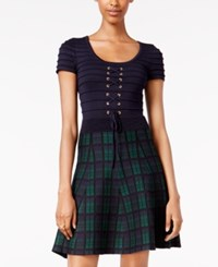 Xoxo Juniors' Lace Up Plaid Fit And Flare Dress Navy Plaid