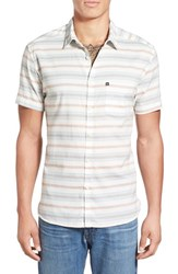 Men's Quiksilver 'The Aventail' Trim Fit Short Sleeve Stripe Woven Shirt Snow White