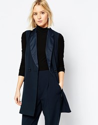 Asos Longline Tuxedo Sleeveless Blazer Co Ord Navy