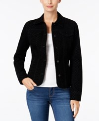 Charter Club Flocked Houndstooth Denim Jacket Only At Macy's Black Rinse