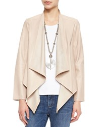 Eileen Fisher Draped Front Leather Jacket Women's Buttercream