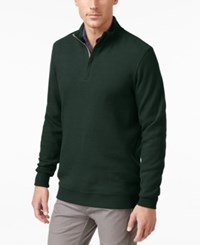 Tasso Elba Men's Big And Tall Honeycomb Textured Quarter Zip Sweater Only At Macy's Nocturnal Green