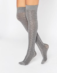 Jonathan Aston Cable Over The Knee Socks Light Grey