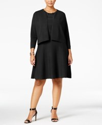 Charter Club Plus Size Fit And Flare Sweater Dress And Bolero Set Only At Macy's Deep Black