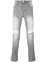 Stampd Ripped Slim Fit Jeans Grey