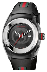 Gucci 'Sync Medium' Rubber Strap Watch 36Mm Black
