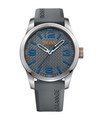 Hugo Boss Paris Stainless Steel Grey Silicone Strap Watch 1513349
