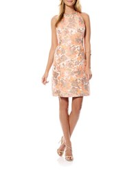 Laundry By Shelli Segal Floral Brocade Racerback Dress Calypso Coral