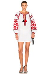 March 11 Geometrical Tunic Top In White Red Geometric Print White Red Geometric Print